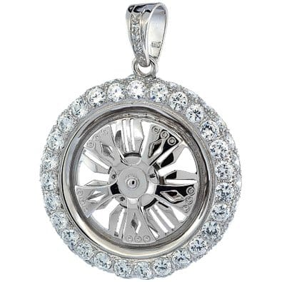 Spinning rim sterling silver pendant deez grillz sterling silver pendant mozeypictures Images