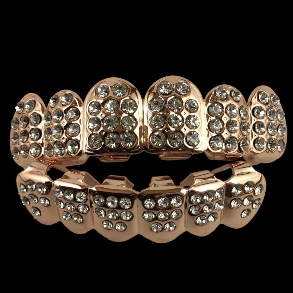 24k rose gold grillz fully iced out with cz diamonds for Cheap gold jewelry near me