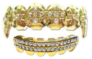 Iced Out Grillz With Fangs - A 14K Set For Hip Hop Heads