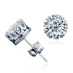 SIlver Cz Diamond Earrings