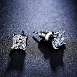 Princess cut earrings