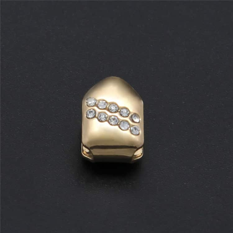 14k Gold Plated Single Tooth Cap With Cz Diamonds Deez