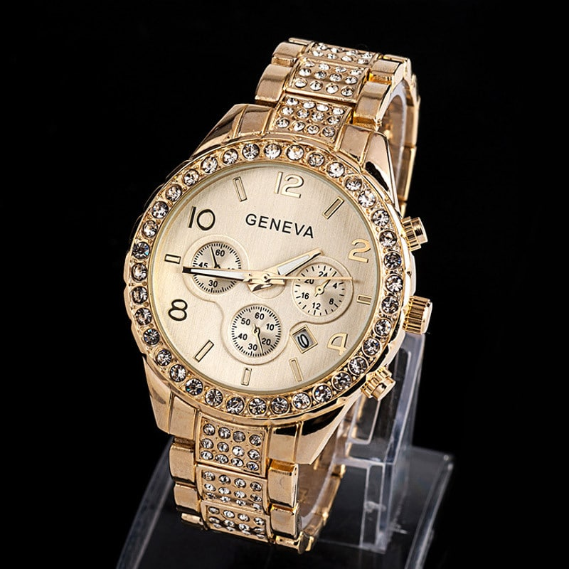 silver luxury rose product bracelet crystal quartz diamond gold wristwatch watch women brand