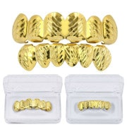 14k plated diamond cut grillz