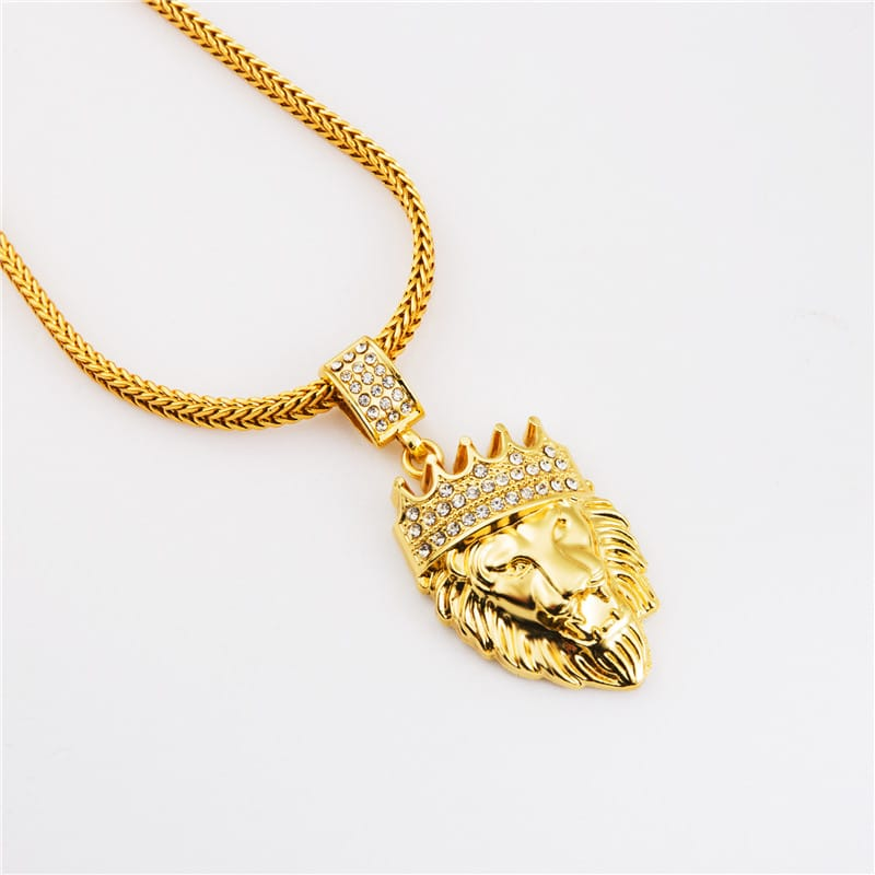 Iced out 18k gold plated lion pendant and chain deez grillz iced out 18k gold plated lion pendant and chain aloadofball Choice Image