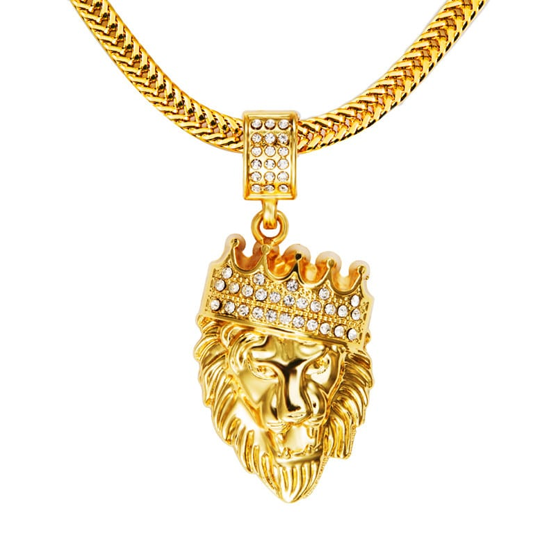 iced out 18k gold plated lion pendant and chain deez grillz