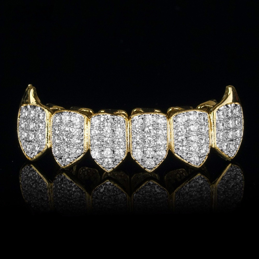 18K Gold CZ Fang Grillz - Bottom Only - Deez Grillz